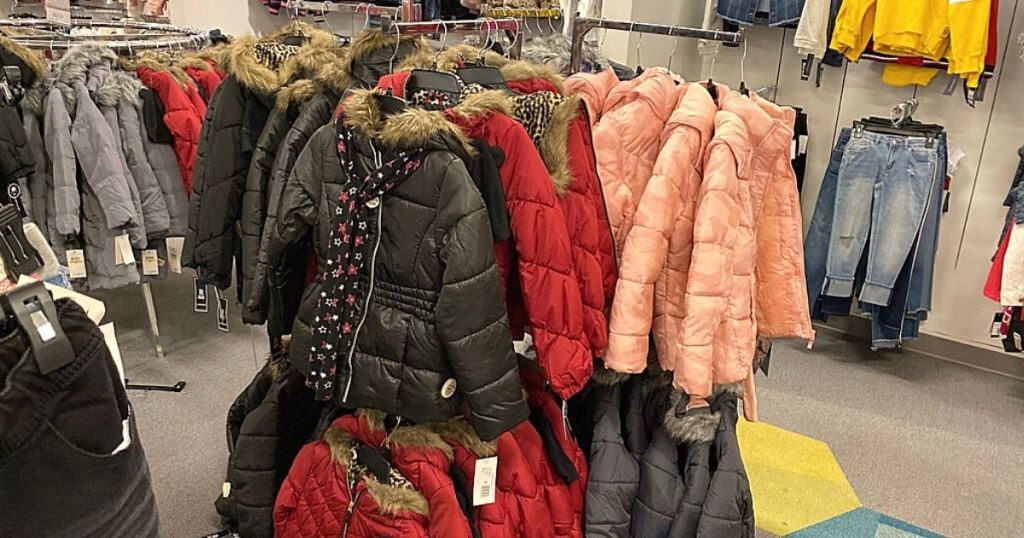 girls puffer coats and scarves