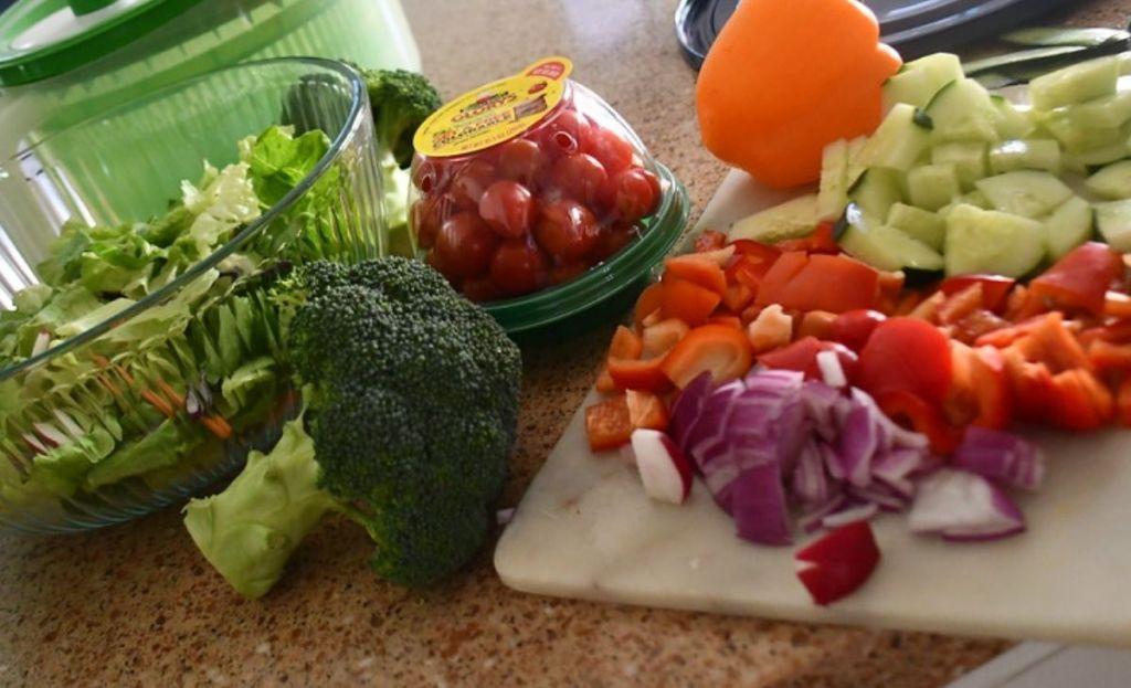 Salad ingredients in a kitchen