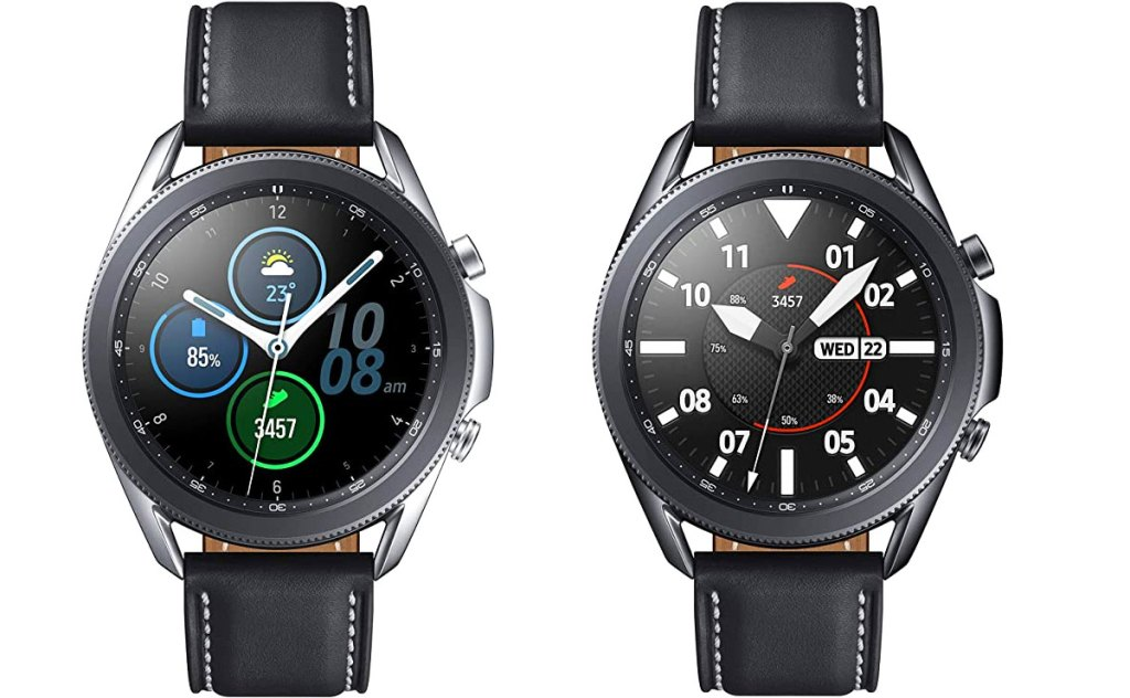 silver and black samsung galaxy 3 smartwatches with black leather bands