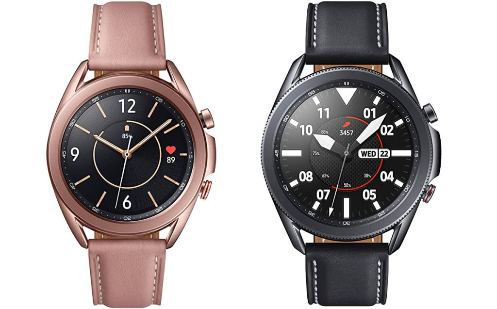 pink and black samsung galaxy 3 smartwatches with leather bands