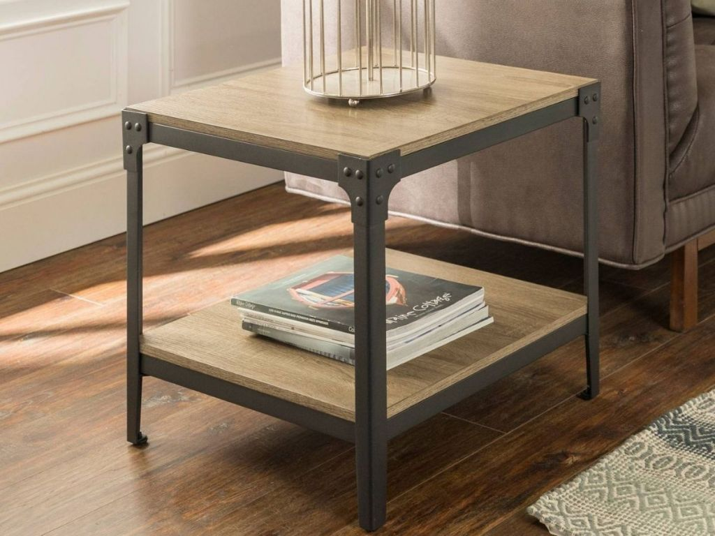 Wooden end table with metal frame