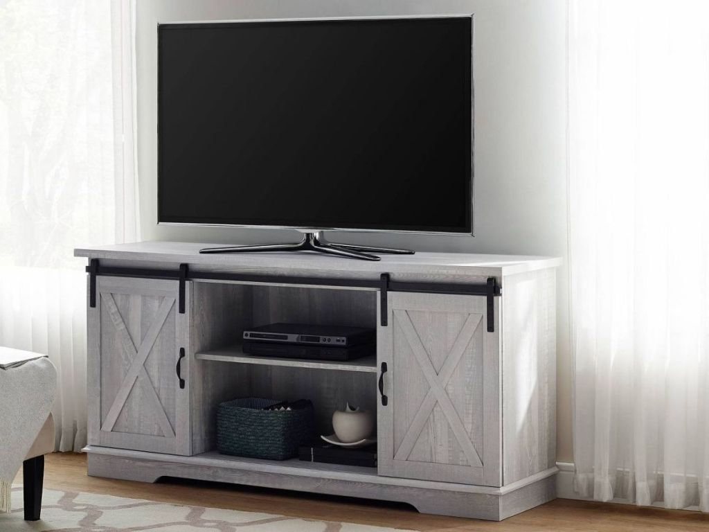 Modern Famhouse Style TV Stand with Barn Doors