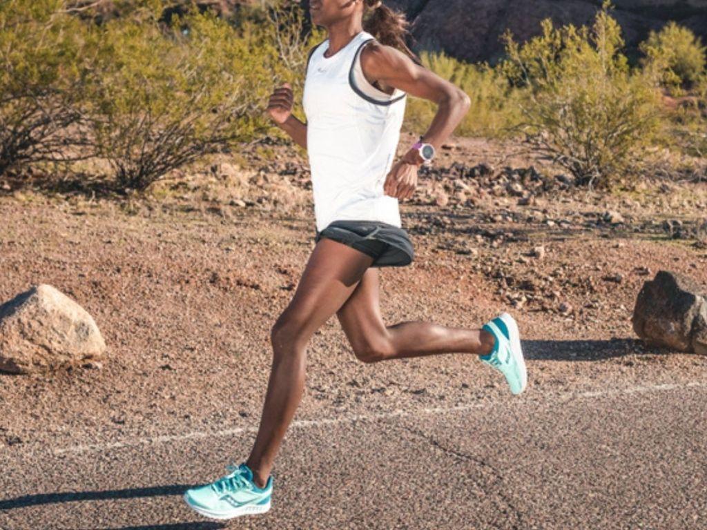 woman running on asphalt