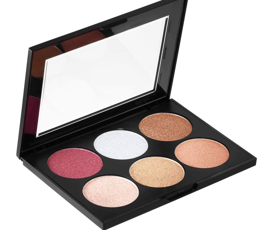 black sephora collection palette with six metallic shades inside