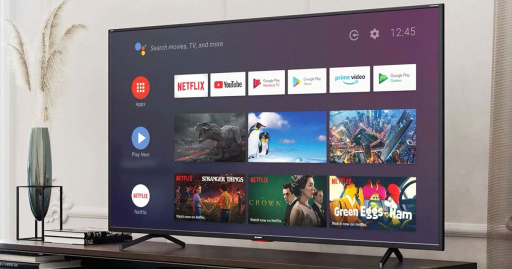 sharp smart tv displaying google home with streaming apps
