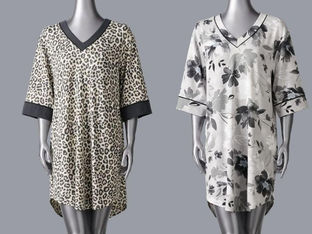 leopard print and floral printed Simply Vera Vera Wang 1/2 Sleeve Sweater Sleepshirt