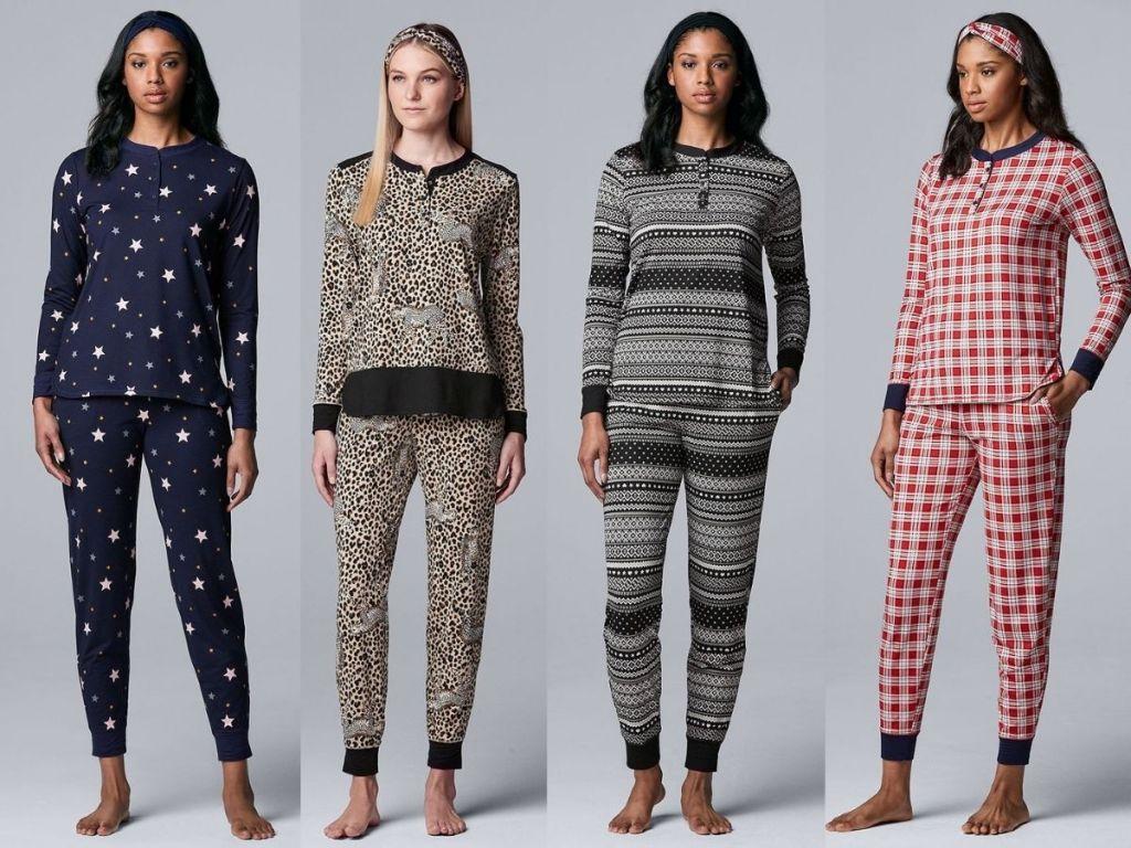 four women wearing Simply Vera Vera Wang Long Sleeve Pajama Top, Pajama Pants & Headband Set
