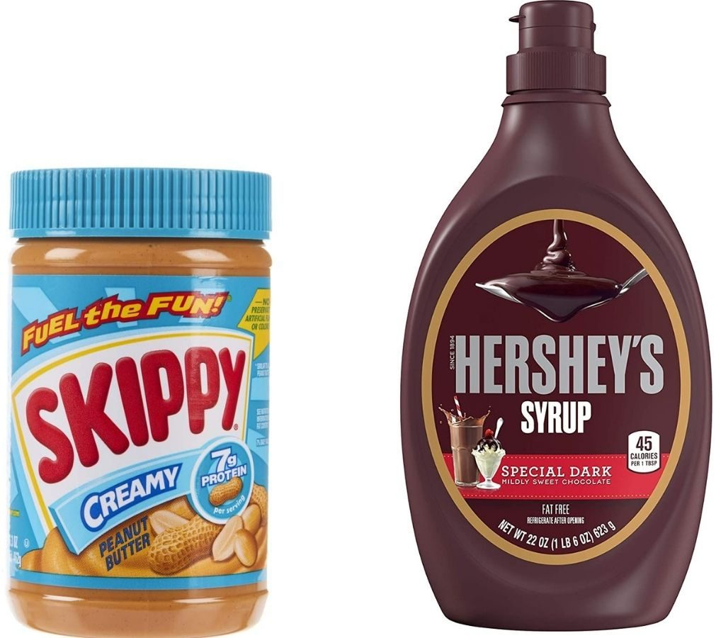 Skippy Peanut Butter and Hershey's Special Dark Syrup