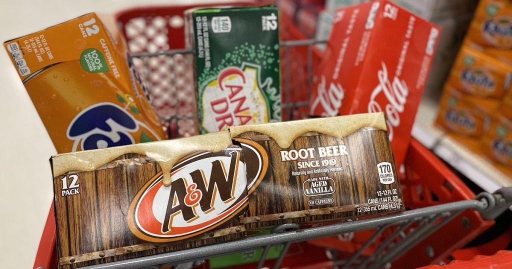 12-packs of soda in Target cart