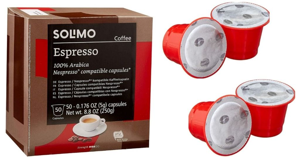 Solimo Espresso Capsules box with 4 capsules