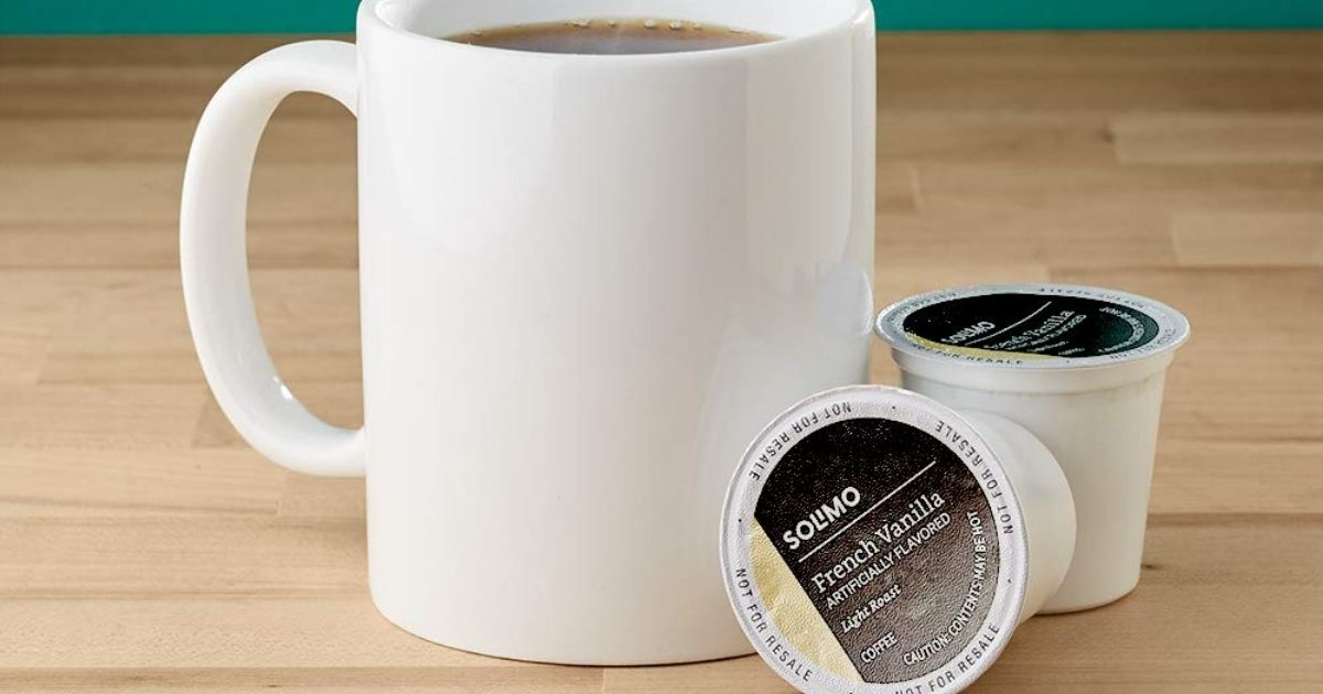 Solimo French Vanilla K-cups with white coffee cup