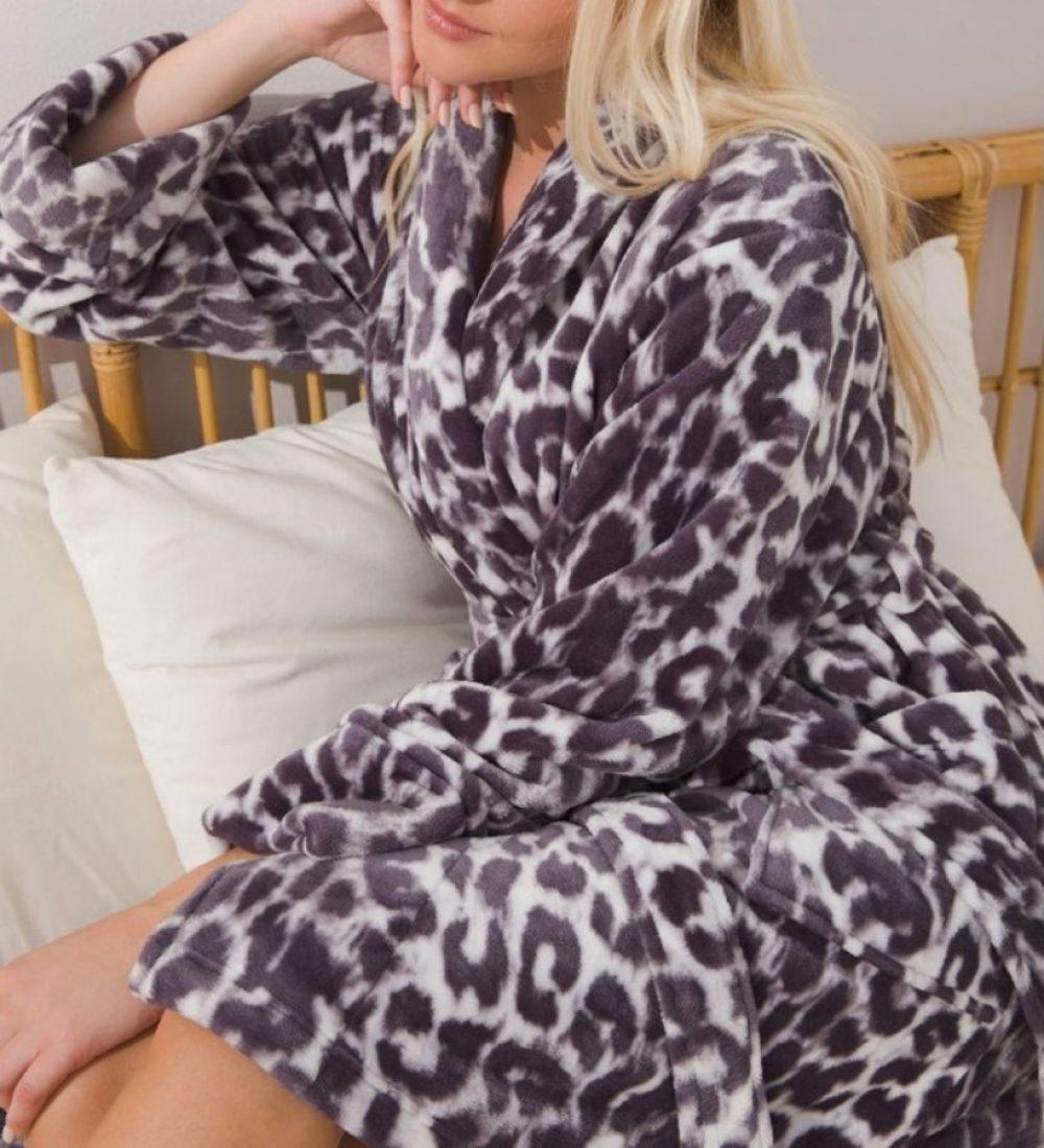 woman wearing a short style plush robe