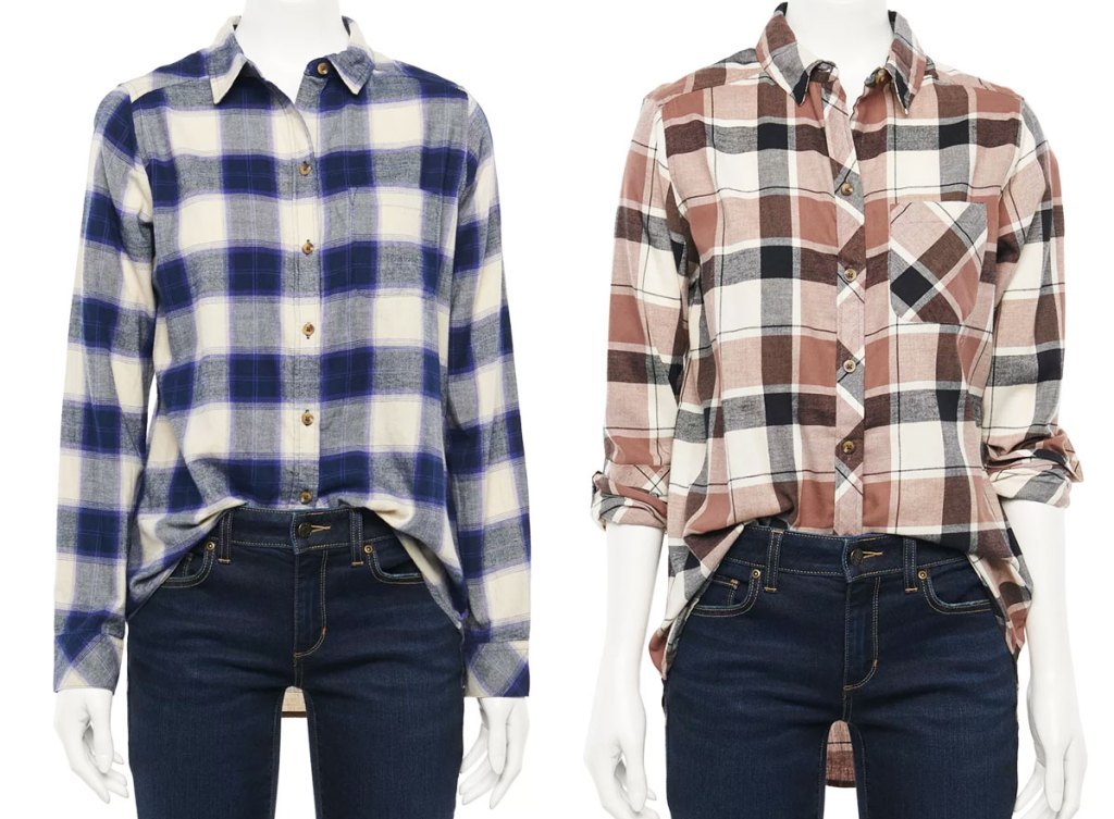 two mannequins in plaid flannel shirts and dark wash jeans