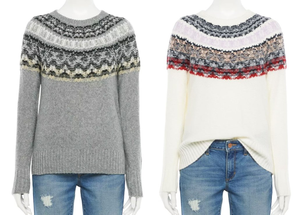 two mannequins in grey and white fairisle sweaters