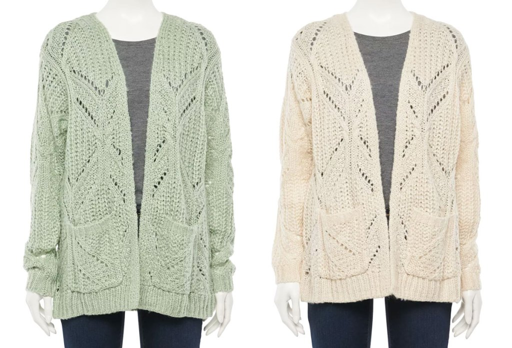 two mannequins with light green and cream colored open front cardigan sweaters
