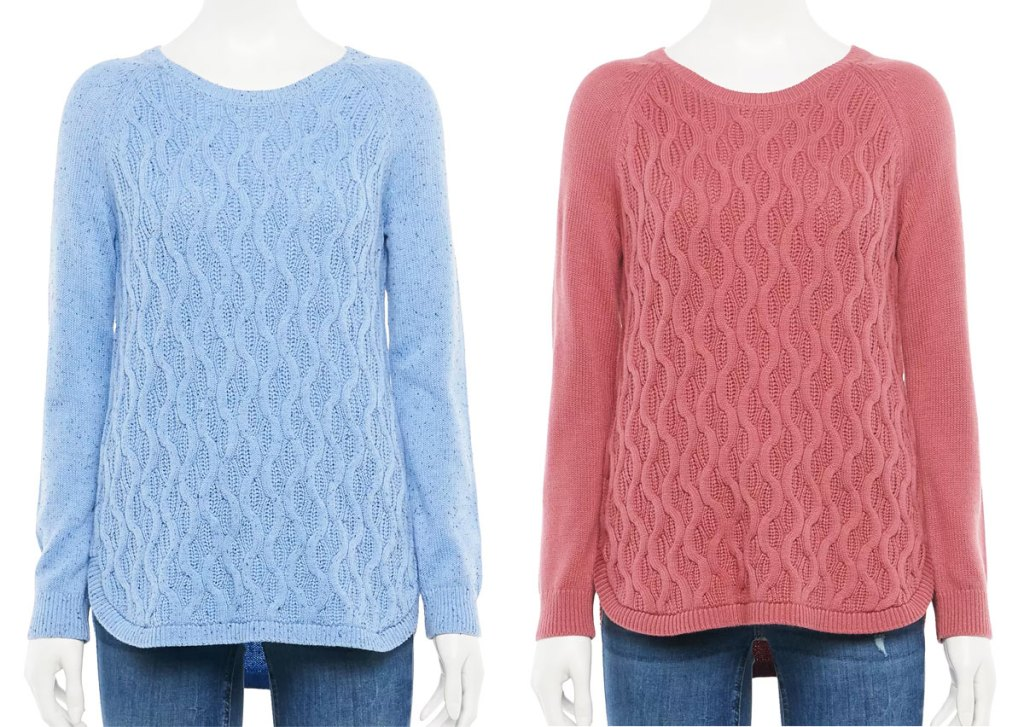 two mannequins in light blue and dusty rose colored sweaters with a wave knit design