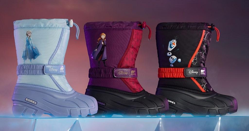 three kids Disney Frozen 2 winter boots
