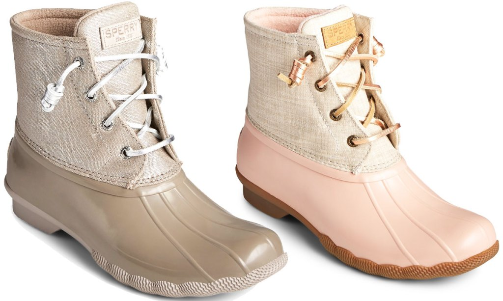 pair of brown and gold duck booties and pink and cream duck booties