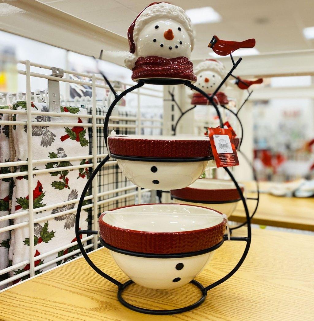 snowman shaped 2-tier serving bowl set