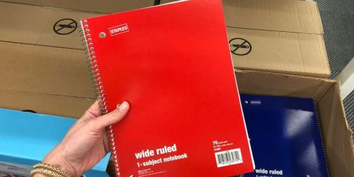 Notebooks from 76¢ Shipped on Staples.com