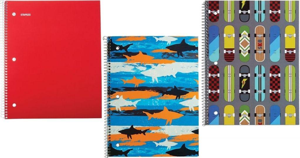 three Staples Notebooks