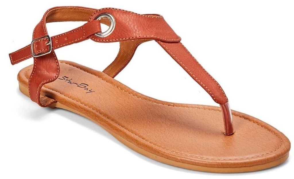 brown pair of Star Bay Grommet T-Strap Sandals