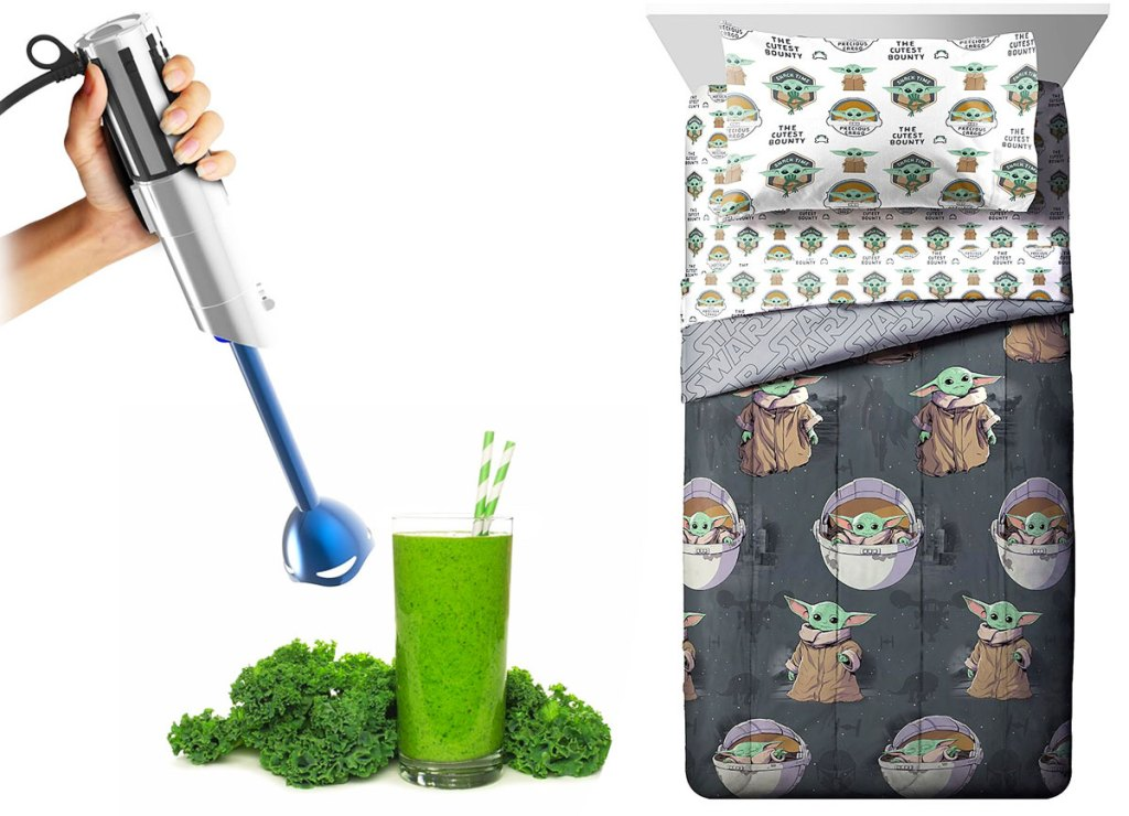 person using a star warss light saber immersion blender in a green smoothie and grey mandalorian bedding set