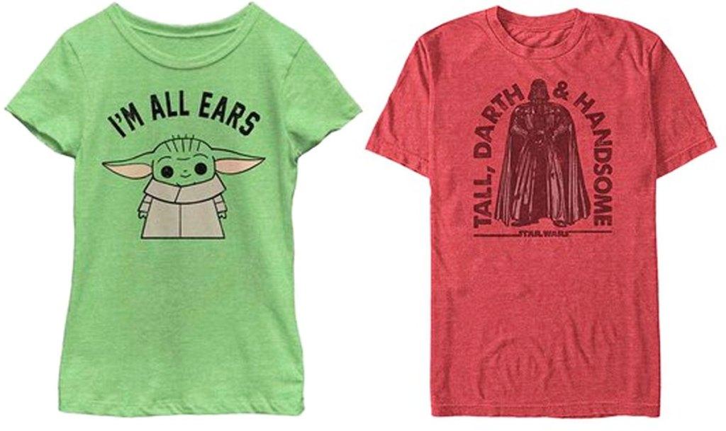 theee baby yoga girls tshirt and red darth vader men's tshirt