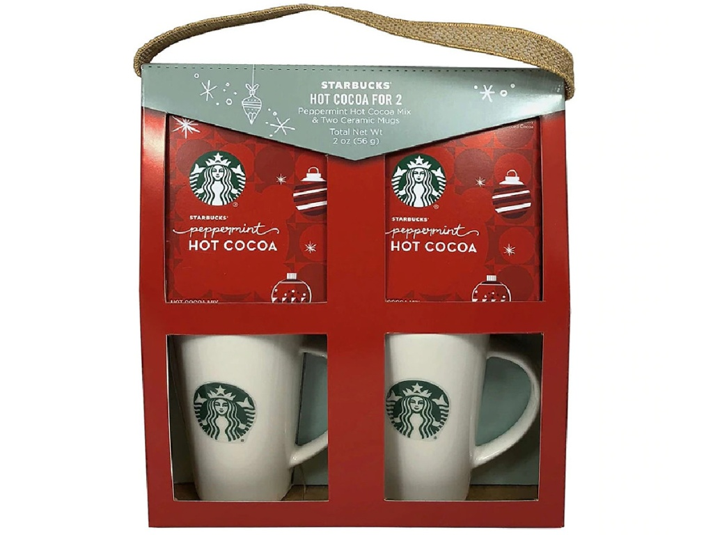 Starbucks gift set with cocoa mix and two mugs