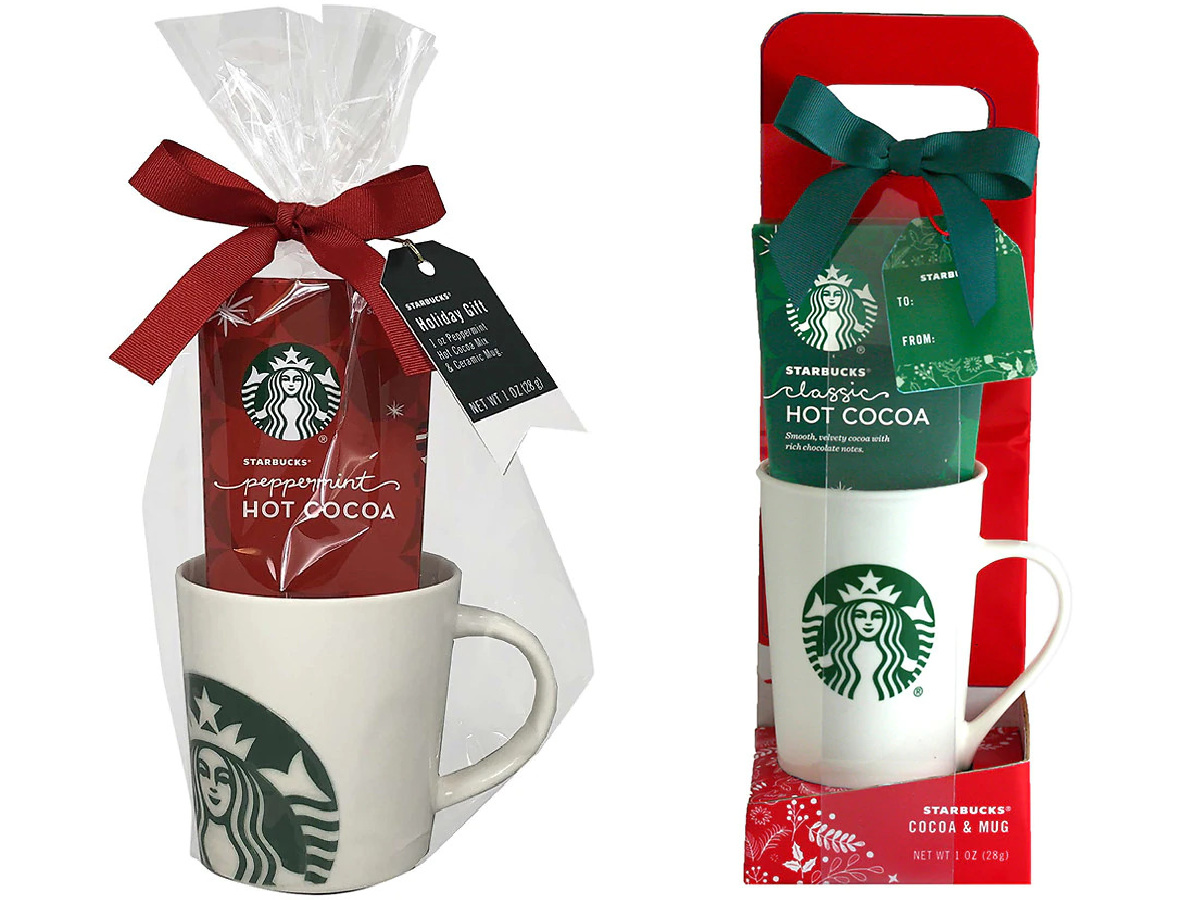 stock images of starbucks coffee, cocoa, and mug giftsets