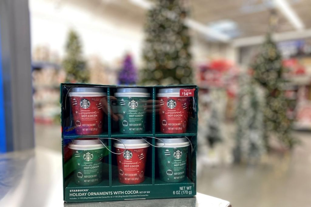 pack of Starbucks ornaments on counter at Walmart