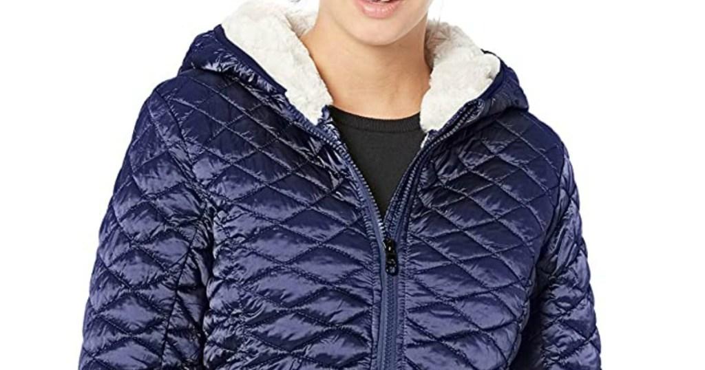 woman wearing Steve Madden Glacial Sherpa Jacket