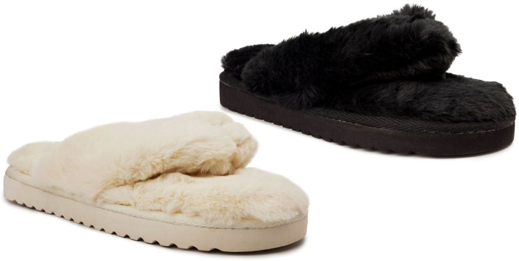 two pairs of fuzzy flip flop slippers in cream and black colors