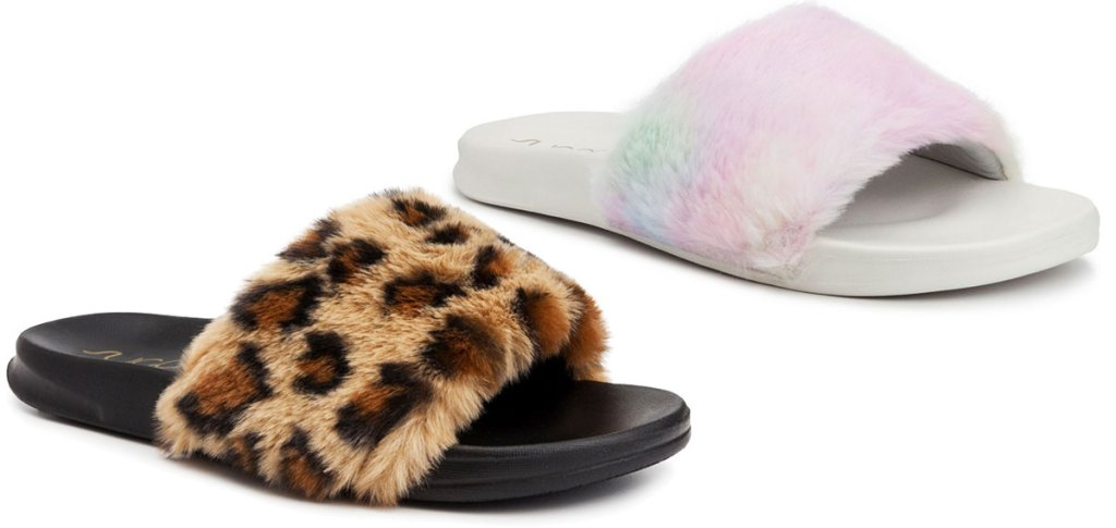 two pairs of slide sandals with fuzzy top bands in leopard and pastel tie dye colors