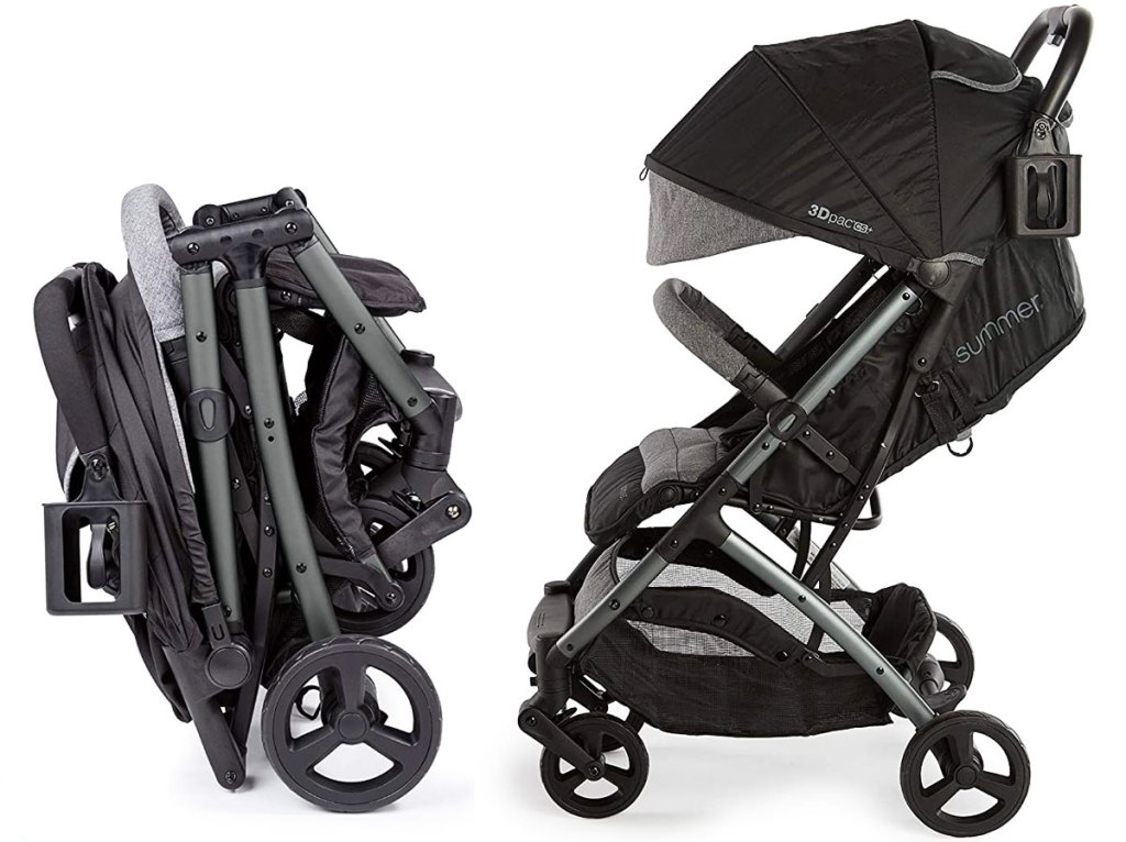 folded up compact travel stroller next to image of stroller in regular position