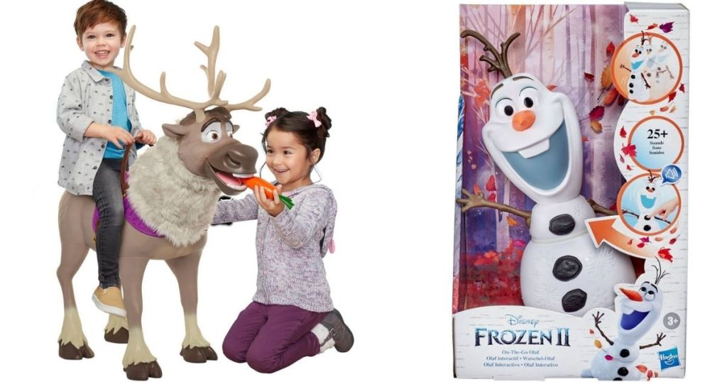 kids playing on a sven toy and an olaf toy