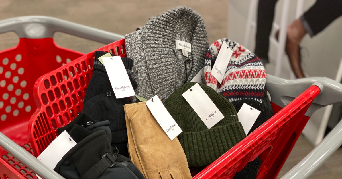 sweaters and gloves in cart