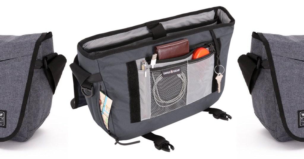 three gray messenger bags
