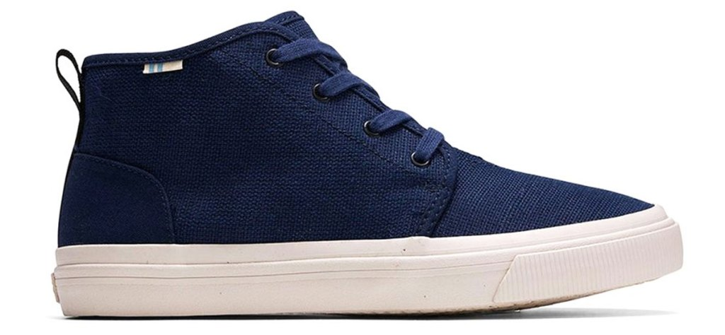 navy blue canvas boy's sneaker with white rubber sole