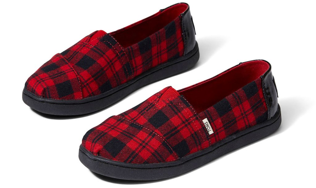 red and black buffalo plaid kids slip-on shoes