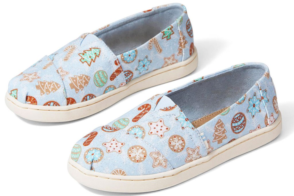 light blue with sugar cookie print canvas toms slip-on shoes