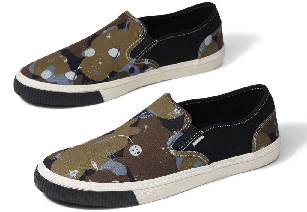 green camo print with planets printed slip-on sneakers