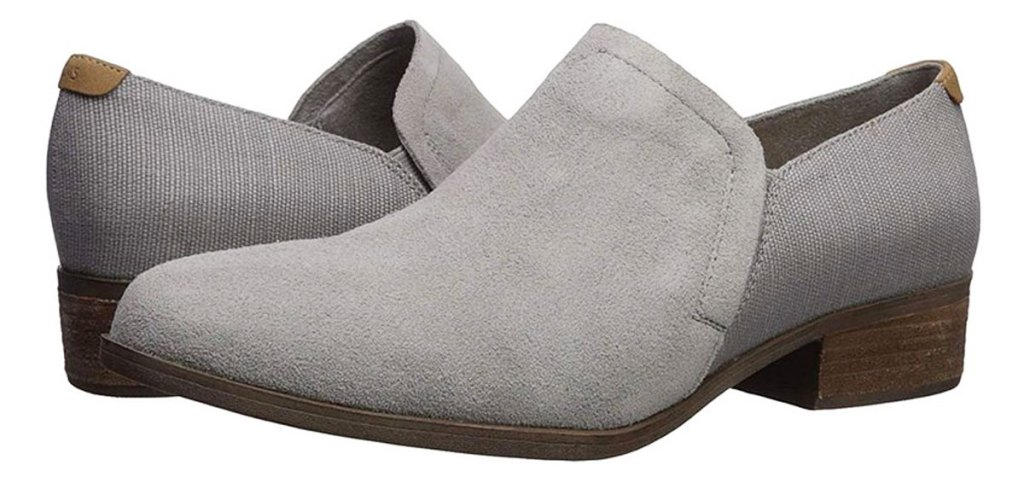 pair of grey women's booties with block heels