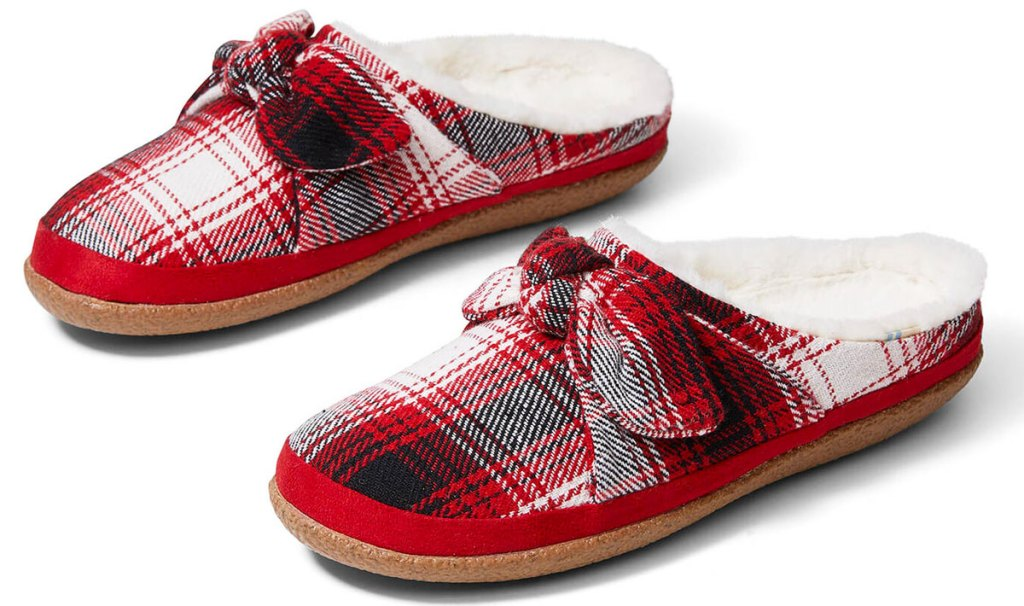 pair of red and white plaid print women's slip-on slippers with matching bow at top