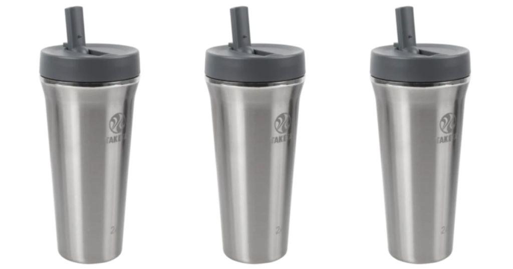 3 views of Takeya Tritan Stainless Steel Water Bottle w/ Straw