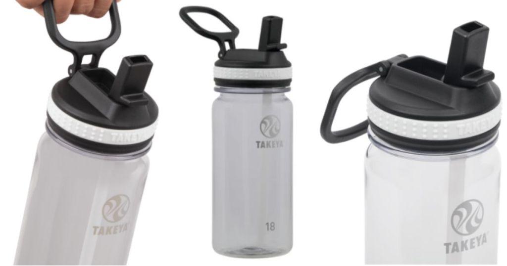 3 views of Takeya Tritan Water Bottles 18oz Straw