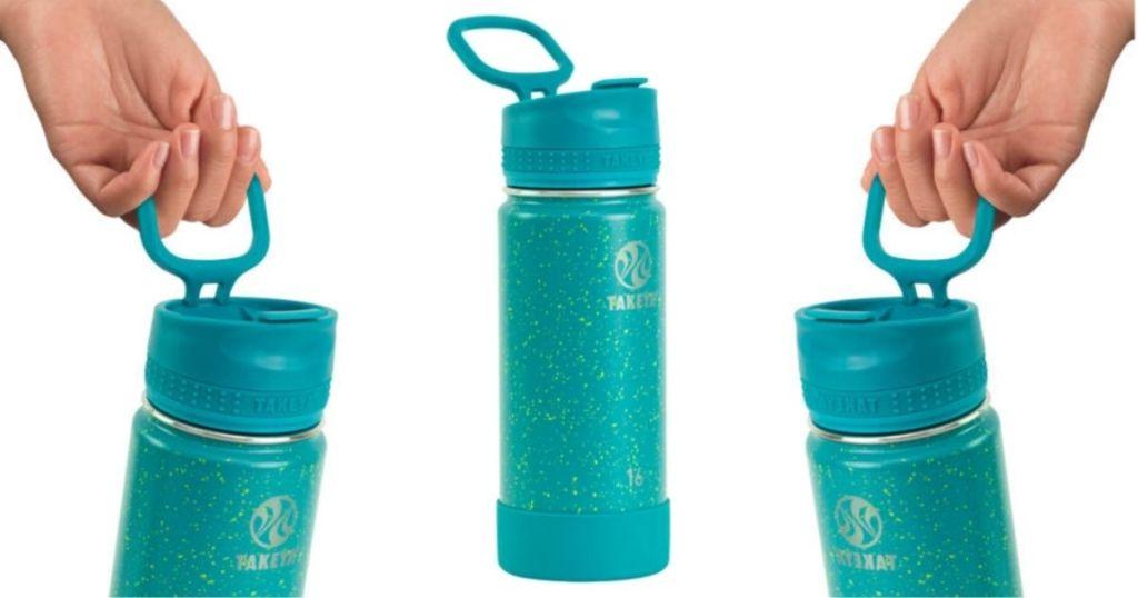3 views of Takeya Tritan Water Bottles Actives Straw