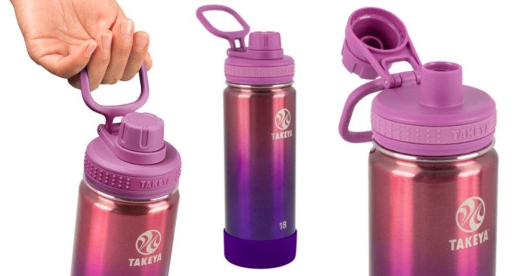 3 views of Takeya Tritan Water Bottles Ombre Actives Spout