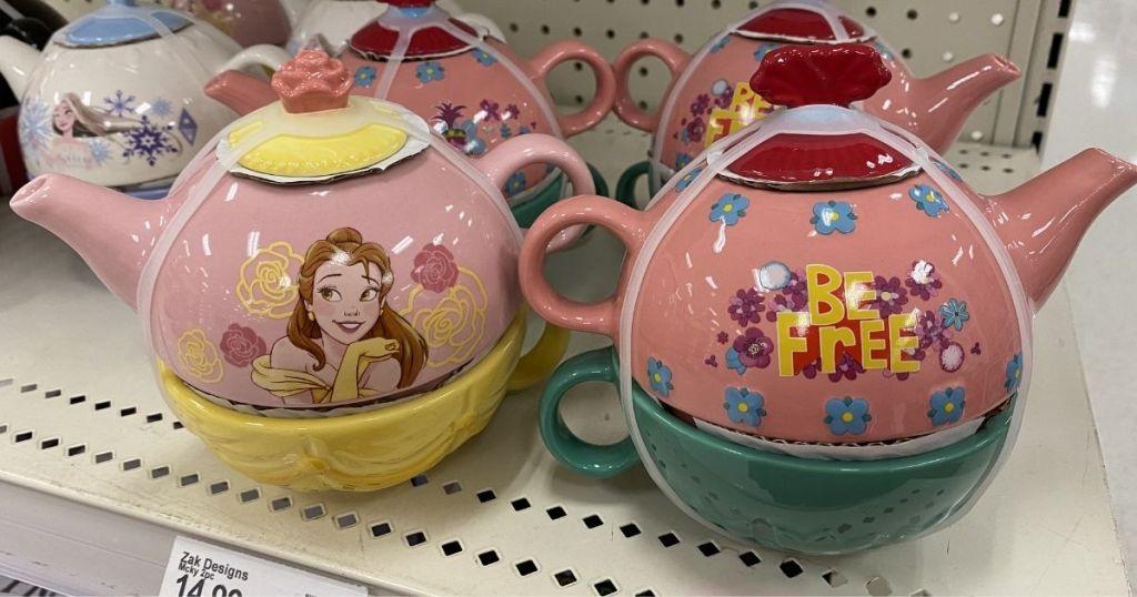 Target Disney Beauty and the Beast and Trolls Tea Sets on shelf