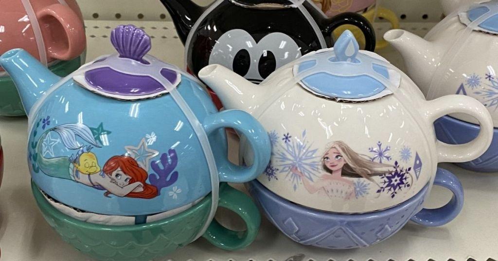 Target Disney Little Mermaid and Frozen Tea Sets on shelf